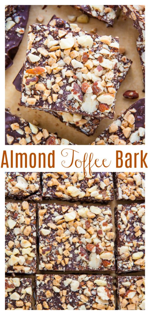Roasted Almond Toffee Bark made with 3 simple ingredients! It's perfect for homemade holiday gifts!