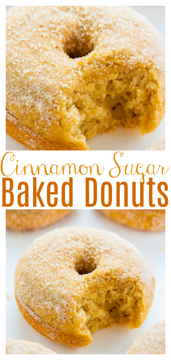 Soft and fluffy Brown Butter Cinnamon Sugar Donuts bake up in just 10 minutes! Perfect for a special morning at home and so good with a cup of coffee! These baked donuts are delicious for breakfast or as an afternoon snack.