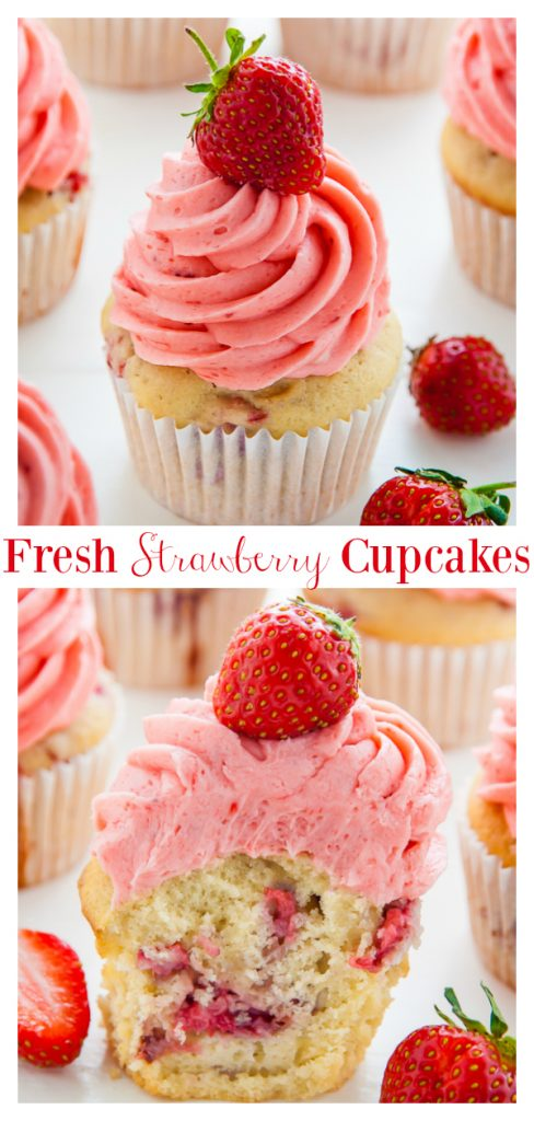 Fresh Strawberry Cupcakes topped with homemade Strawberry Buttercream! These fluffy vanilla cupcakes are bursting with juicy pockets of strawberry and the hot pink frosting is so pretty and delicious. These are the perfect Summer cupcakes!