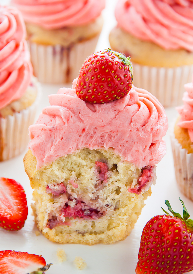 Soft and Fluffy Fresh Strawberry Cupcakes topped with homemade Strawberry Buttercream!