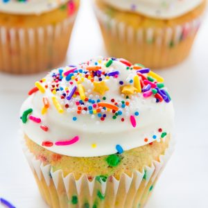 Homemade BROWN BUTTER Funfetti Cupcakes!