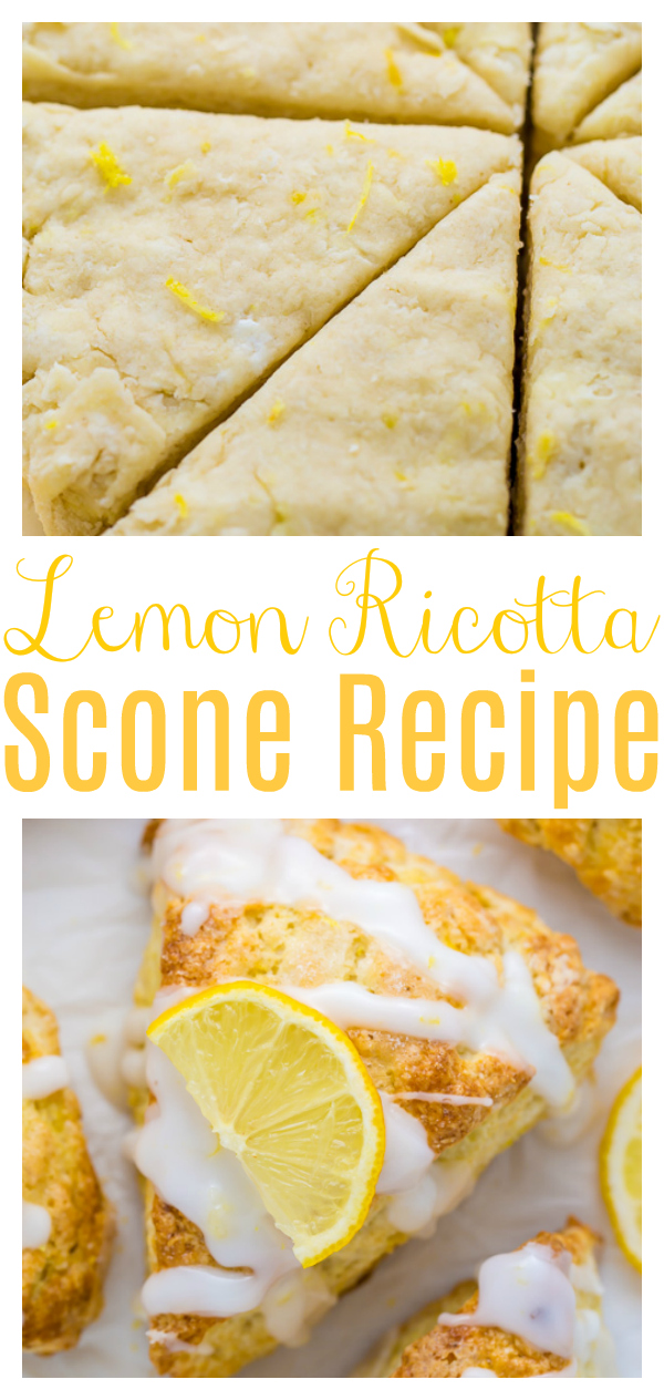 My lemon ricotta scones are soft, fluffy, and sweet as sunshine. Flavored with tons of real lemon flavor and topped with a sweet lemon glaze, these flaky scones make any morning a little brighter! Delicious with a cup of coffee or tea!