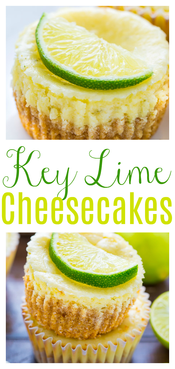 What could be better than cute and creamy Mini Key Lime Cheesecakes?!? Loaded with real key lime flavor, these cheesecakes are sweet, slightly tart, and super creamy! Baked in a muffin tin, these key lime cheesecake cupcakes are always a crowd-pleaser!