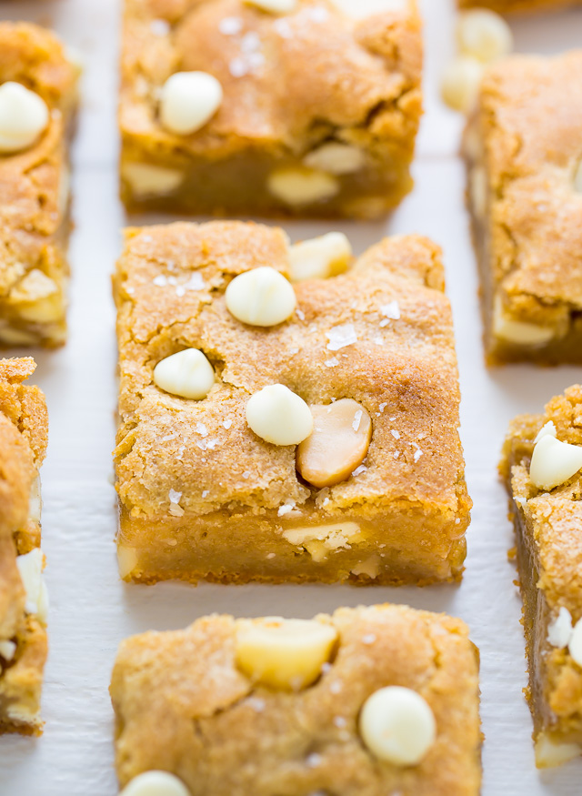 White Chocolate Macadamia Nut Cookie Bars - Baker by Nature