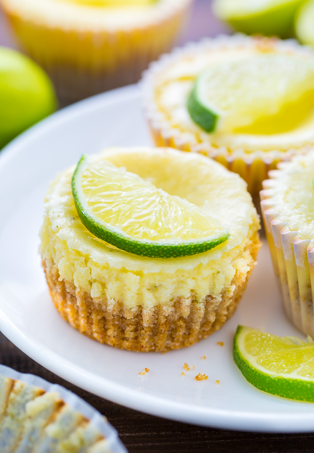 What could be better than cute and creamy Mini Key Lime Cheesecakes?!?