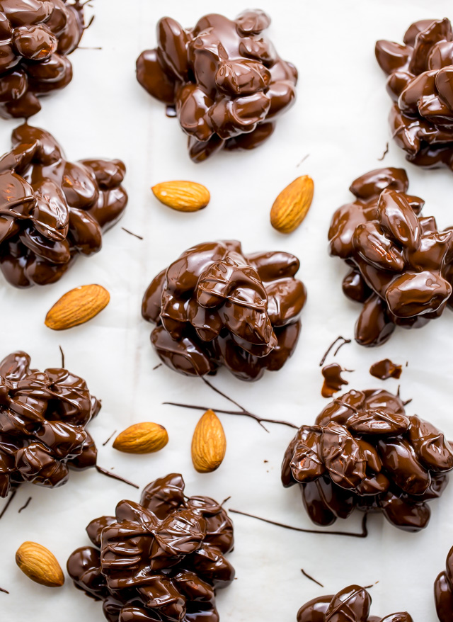 These simple 2-Ingredient Chocolate Almond Clusters are easy, adaptable, and make great gifts!
