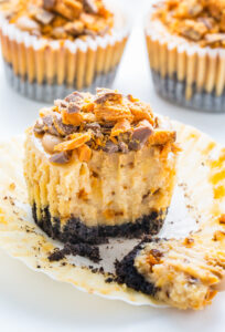 Incredibly delicious Mini PEANUT BUTTER Butterfinger Cheesecakes!