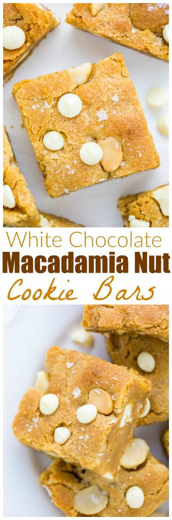 Chewy White Chocolate Macadamia Nut Cookie Bars!