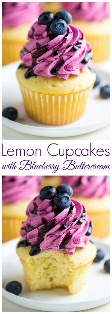 Lemon Cupcakes with Fresh Blueberry Buttercream - Baker by ...