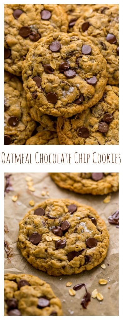 These Thick and Chewy Oatmeal Chocolate Chip Cookies are packed with tons of oats and gooey chocolate chips. This delicious cookie recipe is so easy to make and requires no dough chilling!