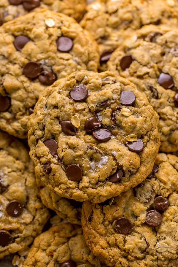 Thick and Chewy Oatmeal Chocolate Chip Cookies!