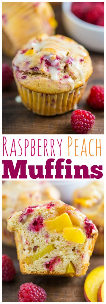 Sweet and fruity Raspberry Peach Muffins! My favorite Summer breakfast!