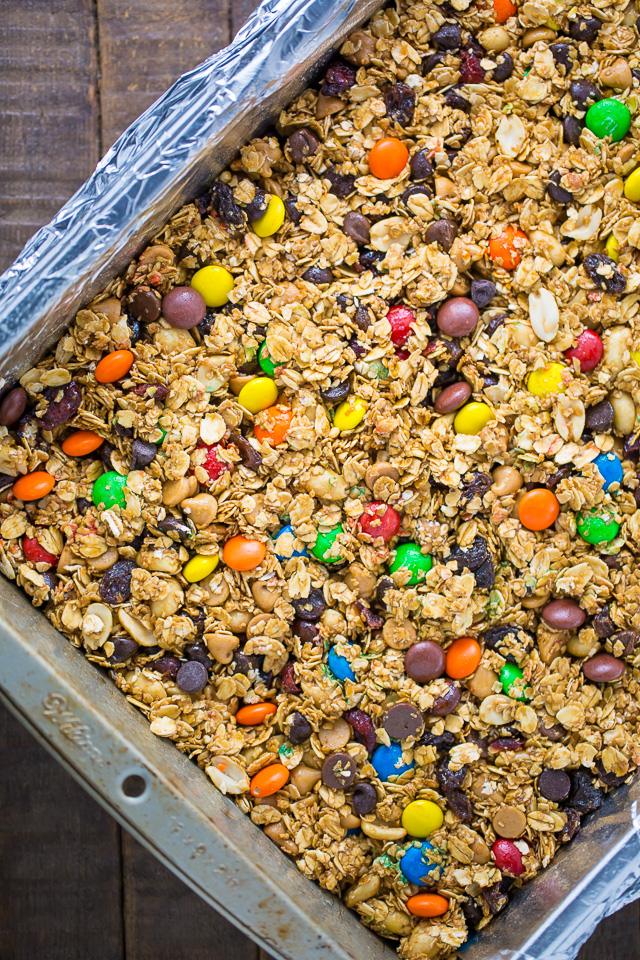 Sweet and Salty Trail Mix Granola Bars! We make these once a week.