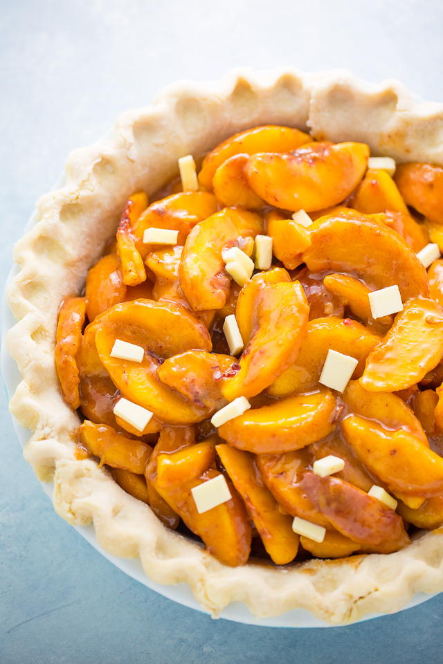 Butter pie crust with peach pie filling.