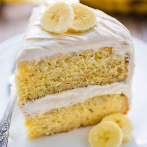 Supremely moist Banana Cake with Cinnamon Cream Cheese Frosting! YUM.