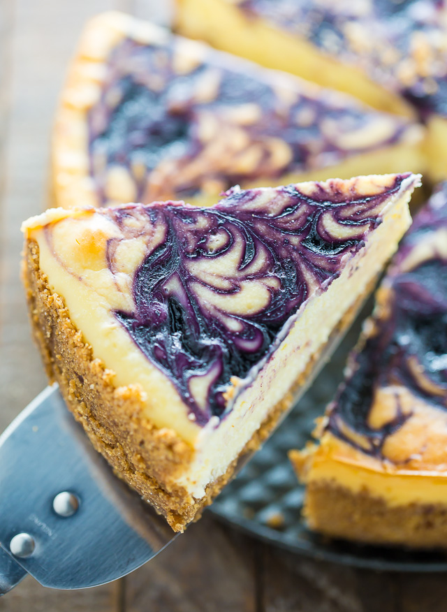 Rich and creamy White Chocolate Blueberry Cheesecake!