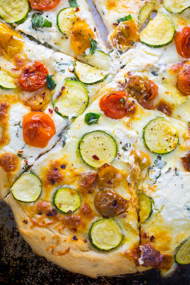 My favorite White Pizza with tomatoes, basil, and zucchini! AKA the ...