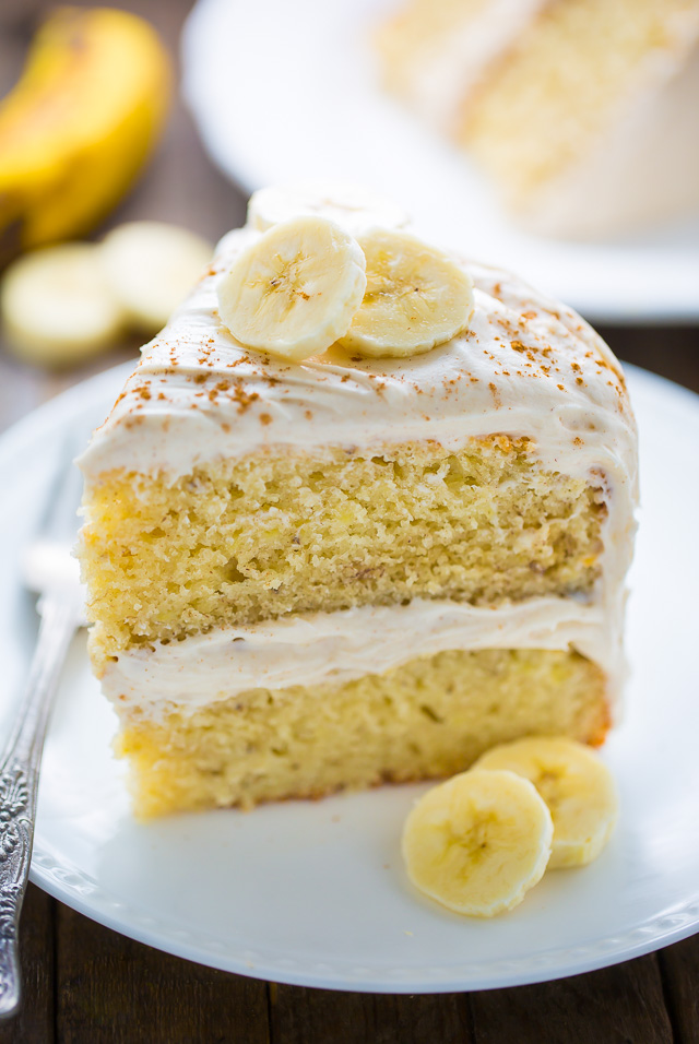 Supremely moist Banana Cake with Cinnamon Cream Cheese Frosting! YUM.