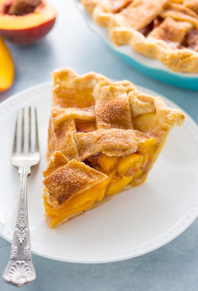A slice of Cinnamon Sugar Peach Pie.