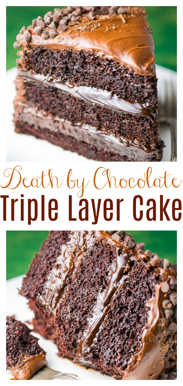 This Death by Chocolate Cake is for SERIOUS chocolate lovers only! Featuring three layers of moist chocolate cake, chocolate fudge sauce, chocolate frosting, and chocolate chips, this cake is a chocolate lovers dream come true!