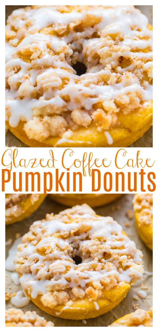 Pumpkin Coffee Cake Donuts are the ultimate Fall treat! Baked, not fried, and ready in less than 30 minutes. If you love pumpkin, you have to try these baked donuts!