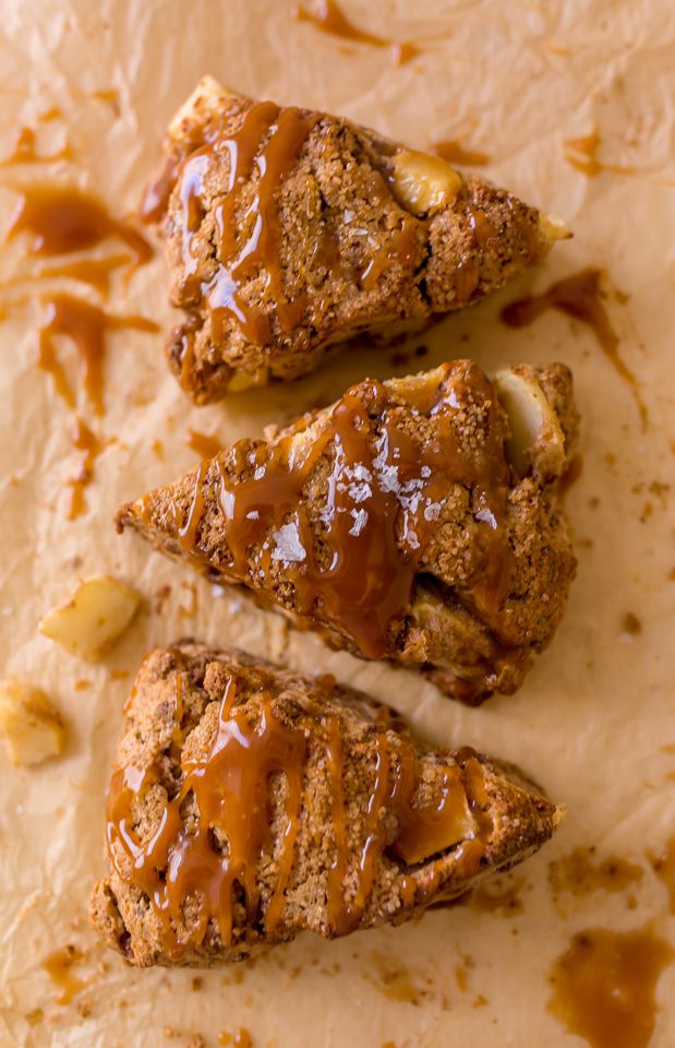 Bakery-Style Salted Caramel Apple Scones are the perfect Fall breakfast! So good with a cup of coffee.