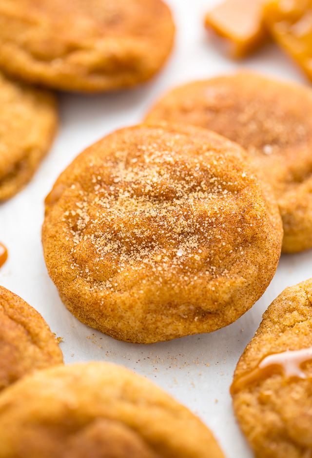 Soft batch Salted Caramel Stuffed Snickerdoodles!