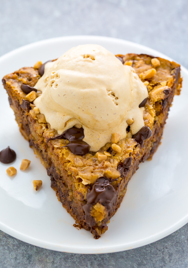 This Toffee Chocolate Chip Cookie Pie is thick, chewy, and just begging to be served with a scoop of ice cream!