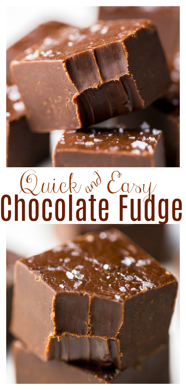 This Foolproof Chocolate Fudge is made with semi-sweet chocolate, sweetened condensed milk, butter, salt and vanilla extract. Nuts are optional! A great holiday gift for chocolate lovers!