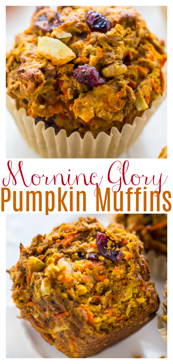 Pumpkin Morning Glory Muffins are healthy, hearty, and so delicious! Loaded with shredded carrots and apples, they're so moist! And dried cranberries, warm spices, and crunchy pecans make them extra delicious!
