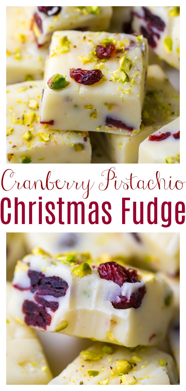A super easy 6-ingredient recipe for White Chocolate Cranberry Pistachio Fudge! This simple holiday treat makes a great gift! This is a great Christmas fudge recipe!