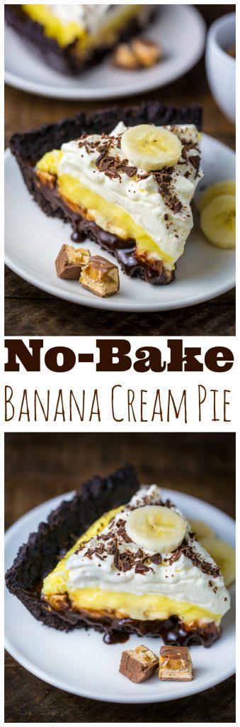 An easy no-bake recipe for Black-Bottom Banana Cream Pie!