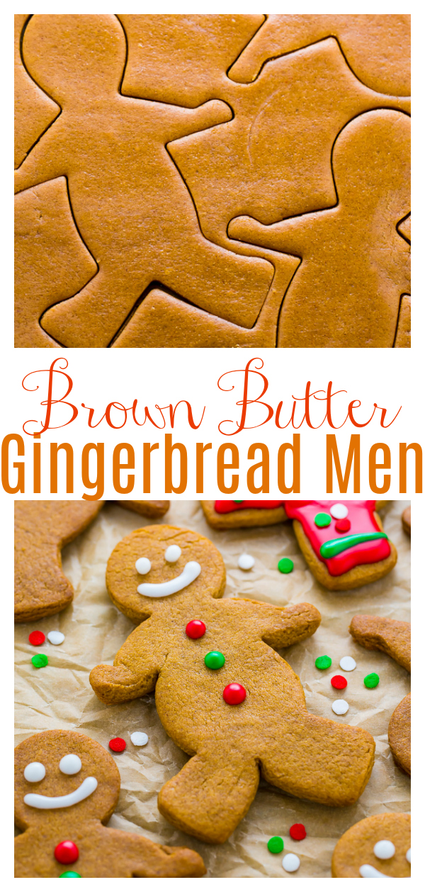 Adorably delicious Brown Butter Gingerbread Men are a MUST bake this holiday season! The brown butter enhances the flavor and makes these cookies taste extra special! Perfect for Christmas cookie trays!