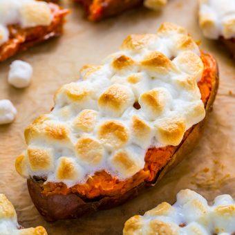 Toasted Marshmallow Twice-Baked Sweet Potatoes