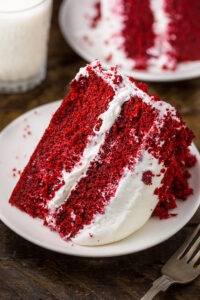 Moist and fluffy Red Velvet Cake with Cream Cheese Frosting!