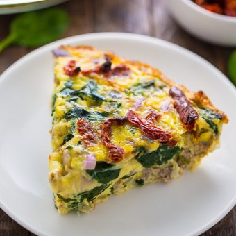 Crustless Quiche with Spinach, Sausage, and Sundried Tomatoes