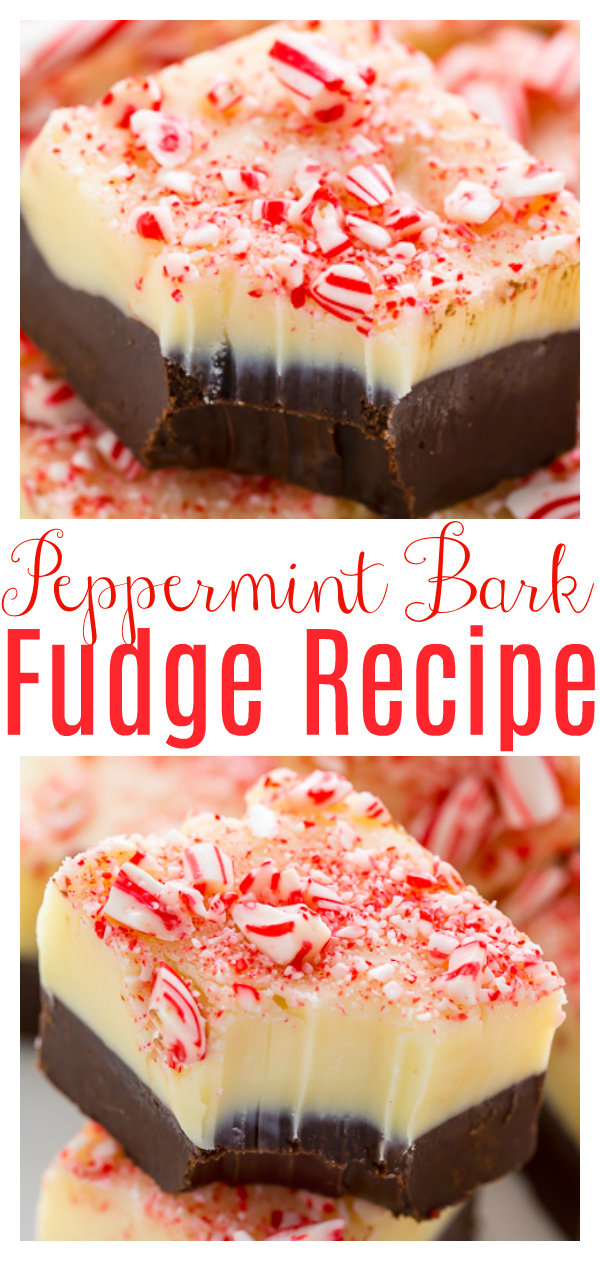 Peppermint Bark Fudge is the perfect homemade holiday treat! Smooth, creamy, and crunchy, this layered fudge has it all! Featuring white chocolate, dark chocolate, and crushed candy canes, it just screams CHRISTMAS!