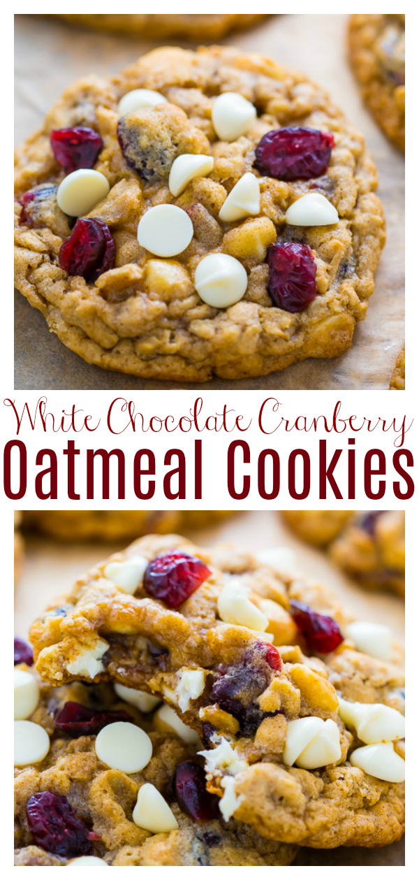 Chewy White Chocolate Cranberry Oatmeal Cookies are super easy and perfect for the holidays! Loaded with old-fashioned rolled oats, craisins, and plenty of white chocolate chips, these cookies have an incredible taste and texture. No chilling required!