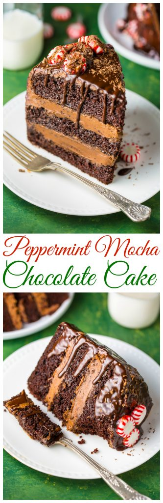 This stunning Peppermint Mocha Chocolate Cake is moist, rich, and absolutely delicious!