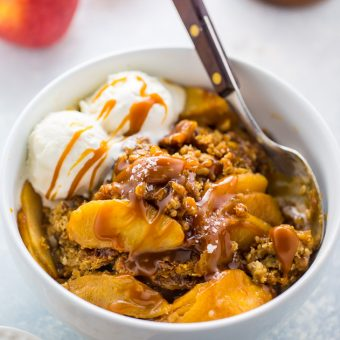 An easy recipe for Salted Caramel Apple Crisp. So good with a scoop of ice cream on top!