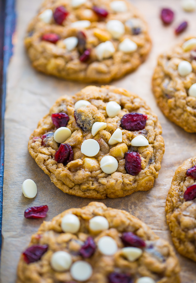 Chewy White Chocolate Cranberry Oatmeal Cookies - Baker by ...