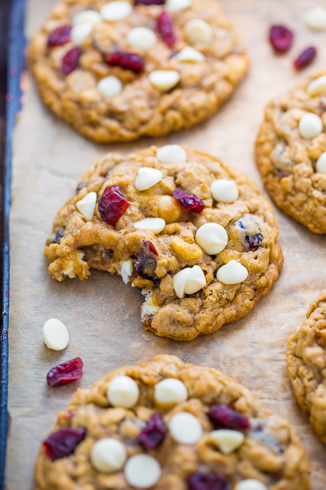 Chewy White Chocolate Cranberry Oatmeal Cookies! Perfect for Christmas baking.