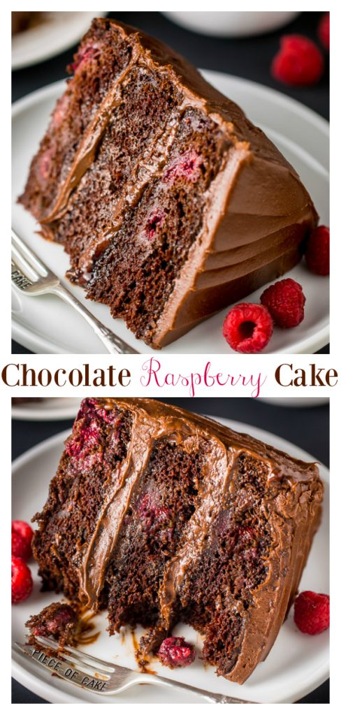 This Triple Layer Chocolate Raspberry Cake is a SHOWSTOPPER! This recipe features three layers of moist raspberry chocolate cake, raspberry preserves, and rich chocolate frosting. Top with fresh raspberries for an extra lovely presentation.