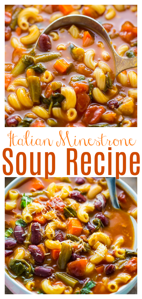 An Authentic Italian Minestrone Soup recipe that's fast and healthy! Made with carrots and celery, diced tomatoes, kidney beans, and pasta, this meal is hearty and loaded with flavor. Leftovers taste even better the next day!
