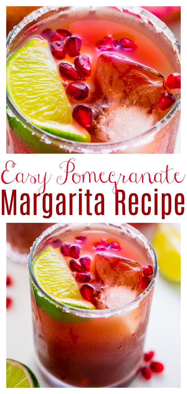Celebrate happy hour at home with these Easy Pomegranate Margaritas! Made with just 5 ingredients! This is the perfect margarita for Cinco de Mayo and Summer celebrations!!