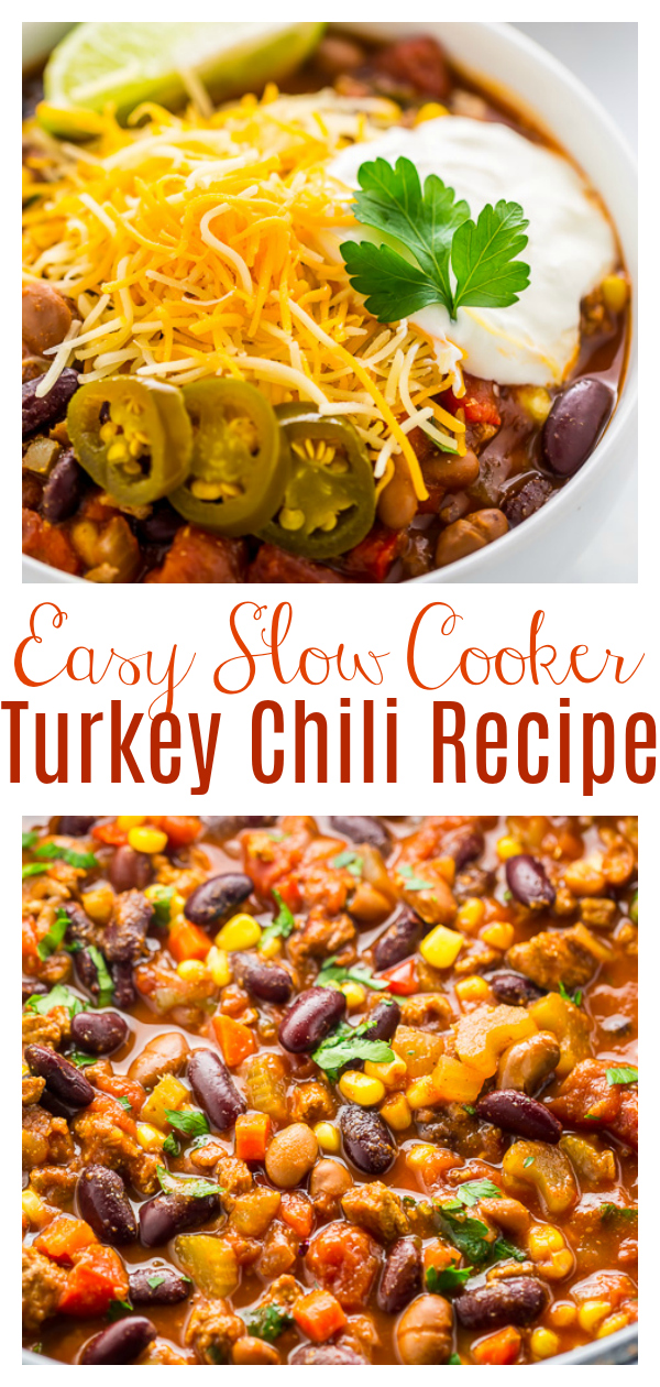 Hearty and comforting Slow Cooker Turkey Chili! This is an easy and affordable meal that everyone loves! Trust me when I say you're going to want a double scoop of this!!!