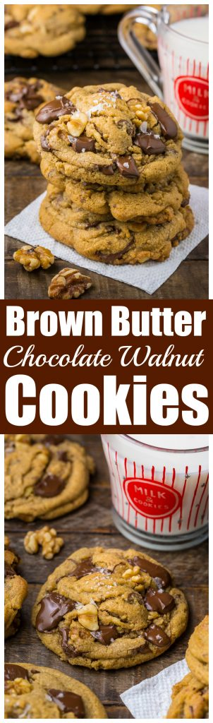 Gooey Brown Butter Walnut Chocolate Chunk Cookies with Sea Salt! These cookies are a powerhouse of FLAVOR.