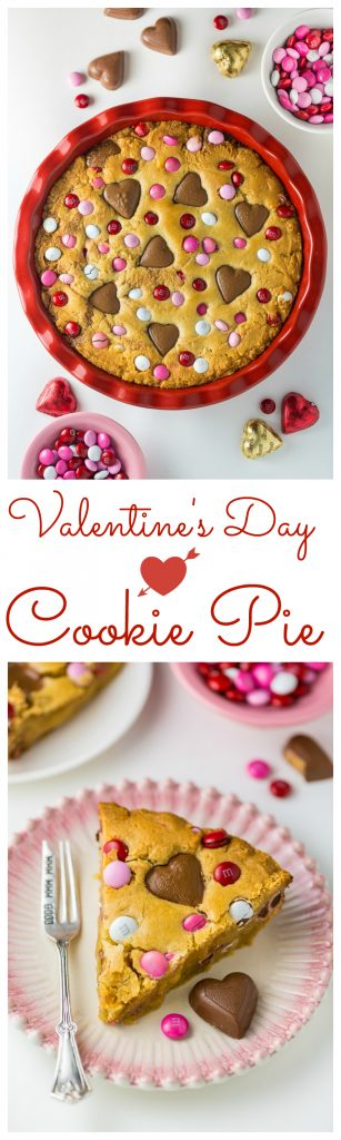 This deep dish Valentine's Day Cookie Pie is loaded with festive M&M's and Heart Shaped Peanut Butter Cups!