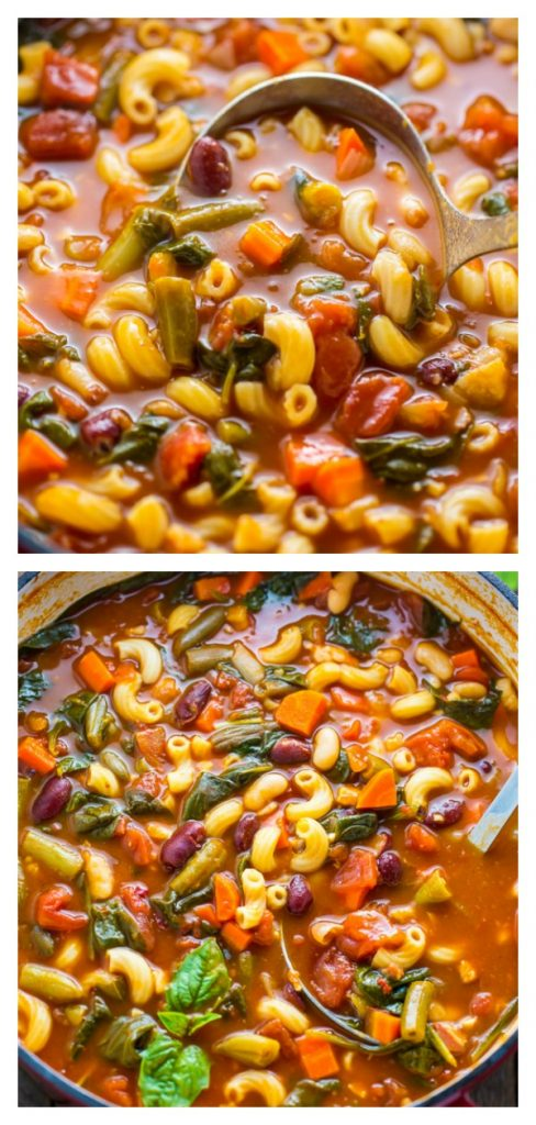 Loaded with flavor, this Italian Minestrone Soup is healthy, comforting, and delicious! #soup #minestrone #pasta #dinner #healthy
