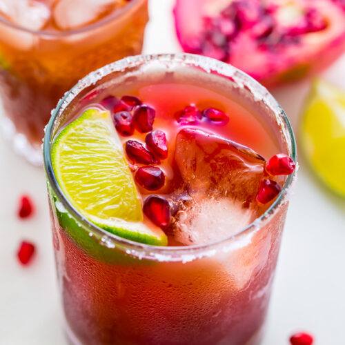 Celebrate happy hour at home with these Easy Pomegranate Margaritas! Made with just 5 ingredients!